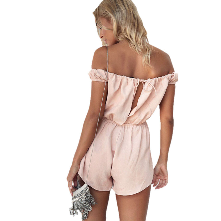 Pink Off Shoulder Romper (2)