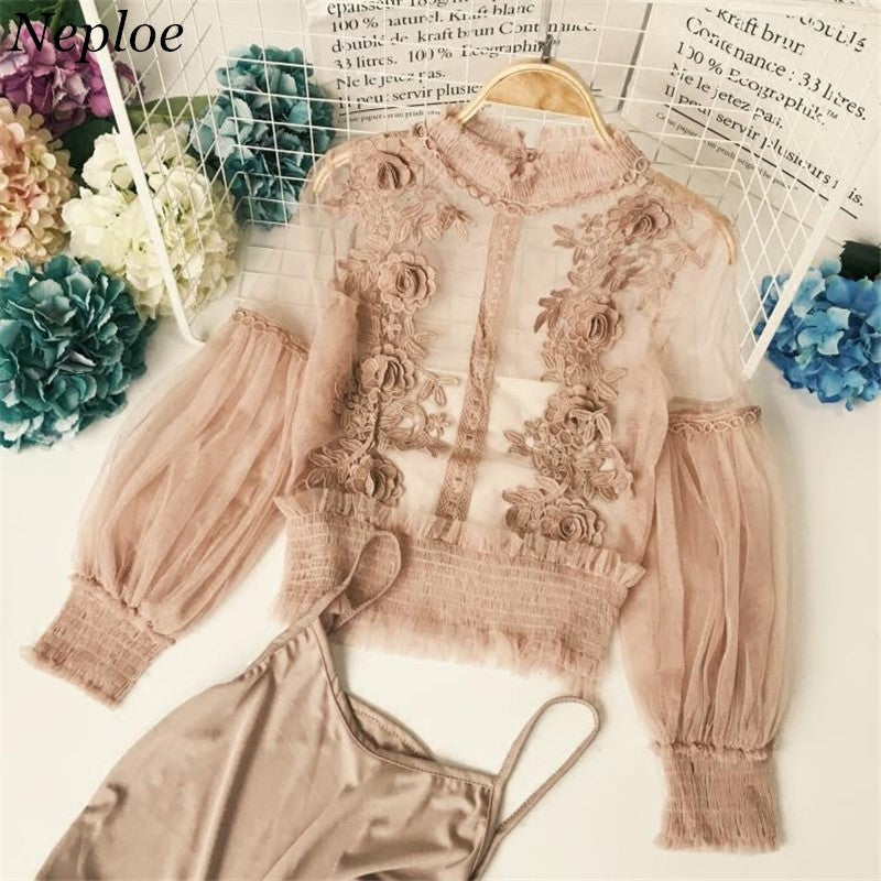 Flower Lace Turtleneck Mesh Top