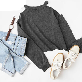 Casual Open Shoulder Sweatshirt