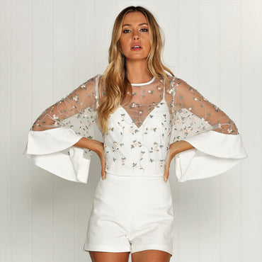 Sheer Embroidered Mesh Long Sleeve Top