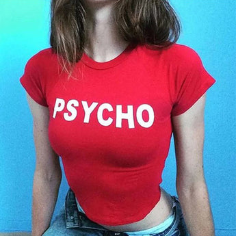 Psycho Letter Print Top