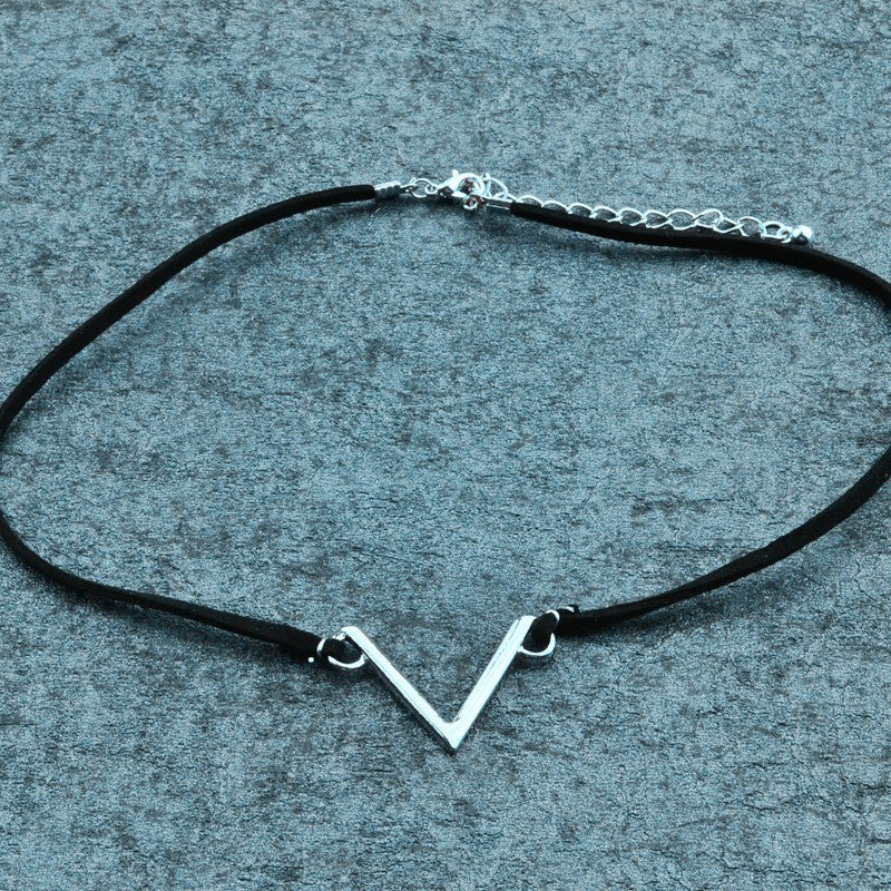 V Design Leather Choker Necklace