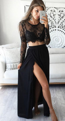 Long Sleeve Lace 2 Piece Set
