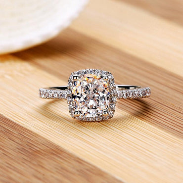 Cushion Cut CZ Diamond Halo Ring