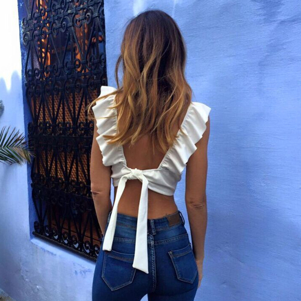 Backless Ruffle Sleeved Crop Top