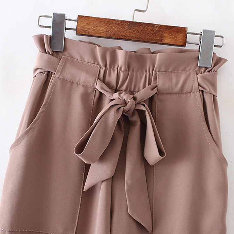 High Waist Bow Ruffled Pants