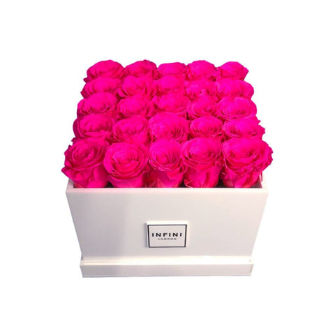 White Diamond - Bright Hot Pink Roses - INFINI roses that last a year