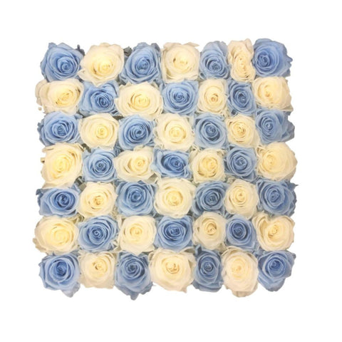 Large Square Box - Checker Design - Creamy White/Baby Blue - INFINI roses that last a year