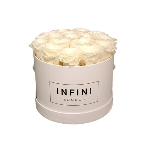 The Classic Round Box - White - INFINI roses that last a year