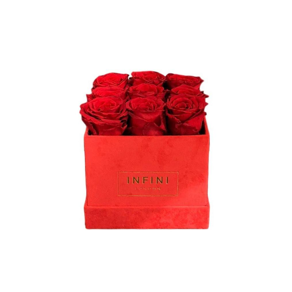 Classic Cube - Red Suede - INFINI roses that last a year