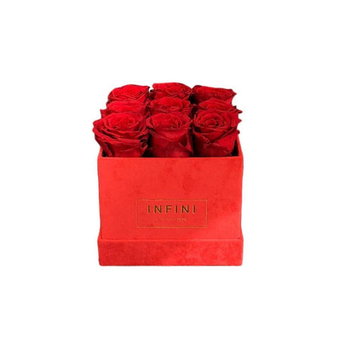INFINI Cashmere Cube - Red - INFINI roses that last a year