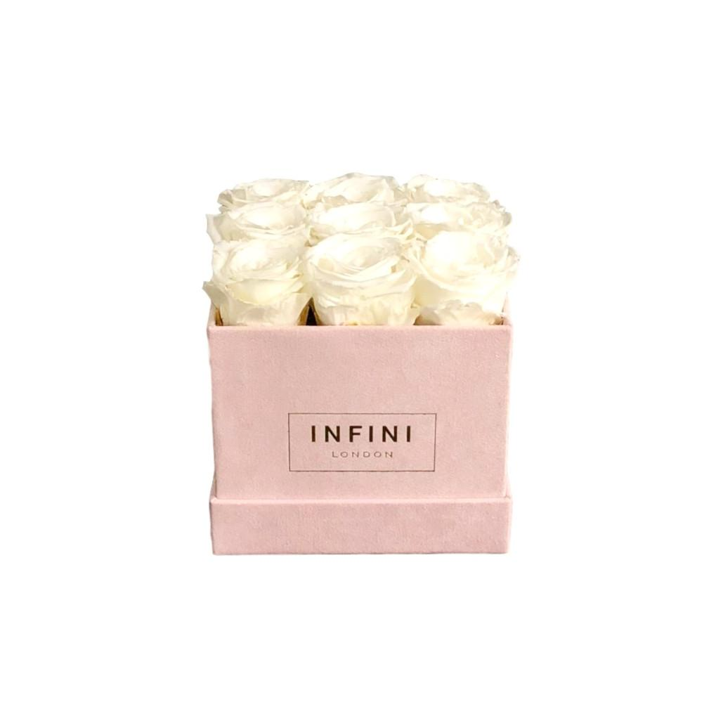 Classic Cube - Blush Pink Suede - INFINI roses that last a year
