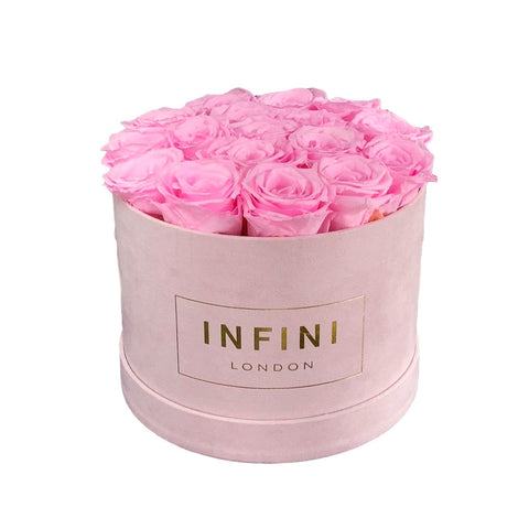 INFINI Cashmere Round Box - Blush Pink - INFINI roses that last a year