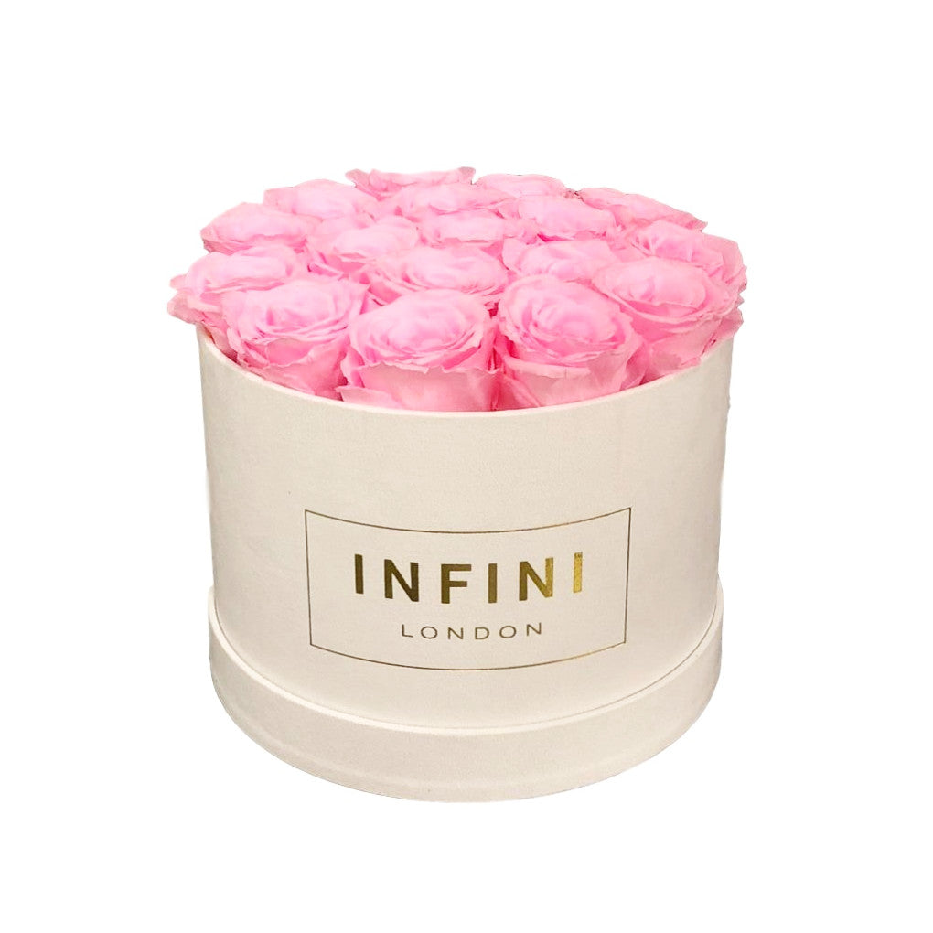 Original Round Box - White Suede - INFINI roses that last a year