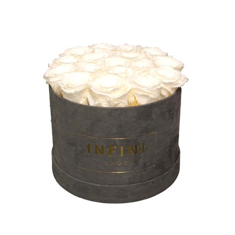 INFINI Cashmere Round Box - Dark Grey - INFINI roses that last a year