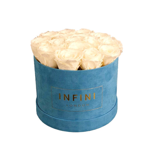 INFINI Cashmere Round Box - Baby Blue - INFINI roses that last a year