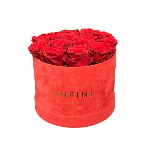 Original Round Box - Red Suede - INFINI roses that last a year