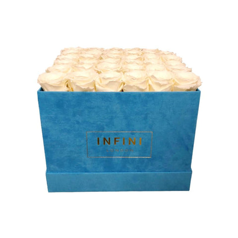 Large Square Box - Baby Blue Suede - INFINI roses that last a year