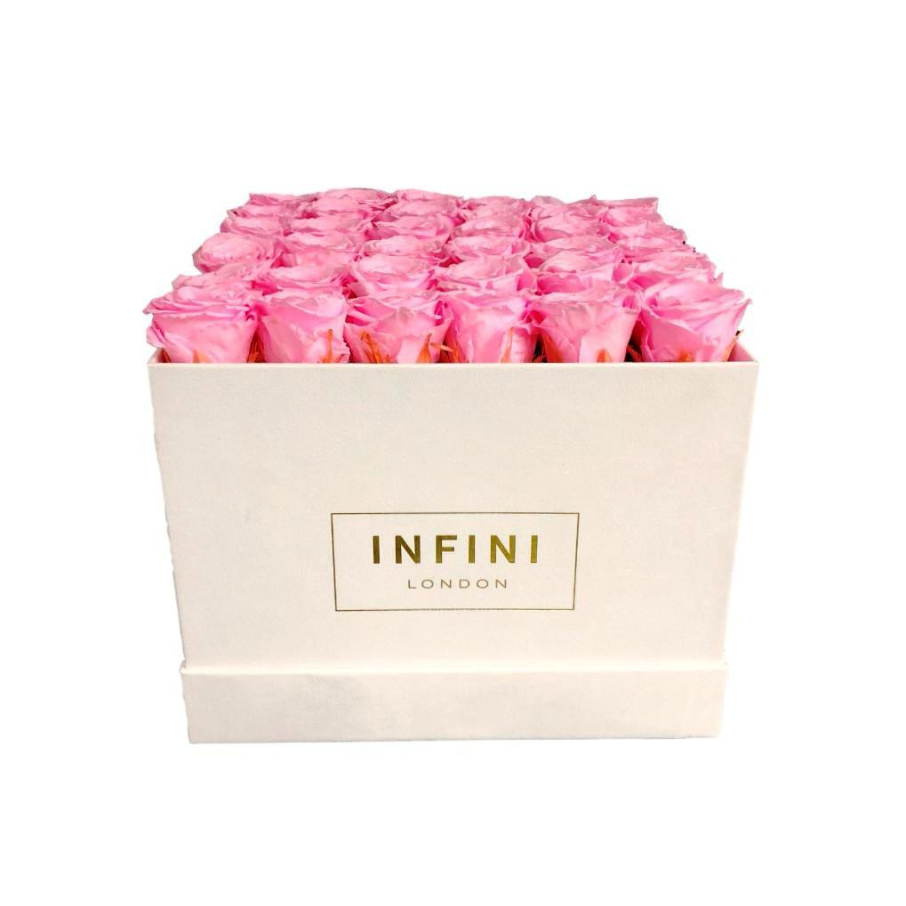 Large Square Box - White Suede - INFINI roses that last a year
