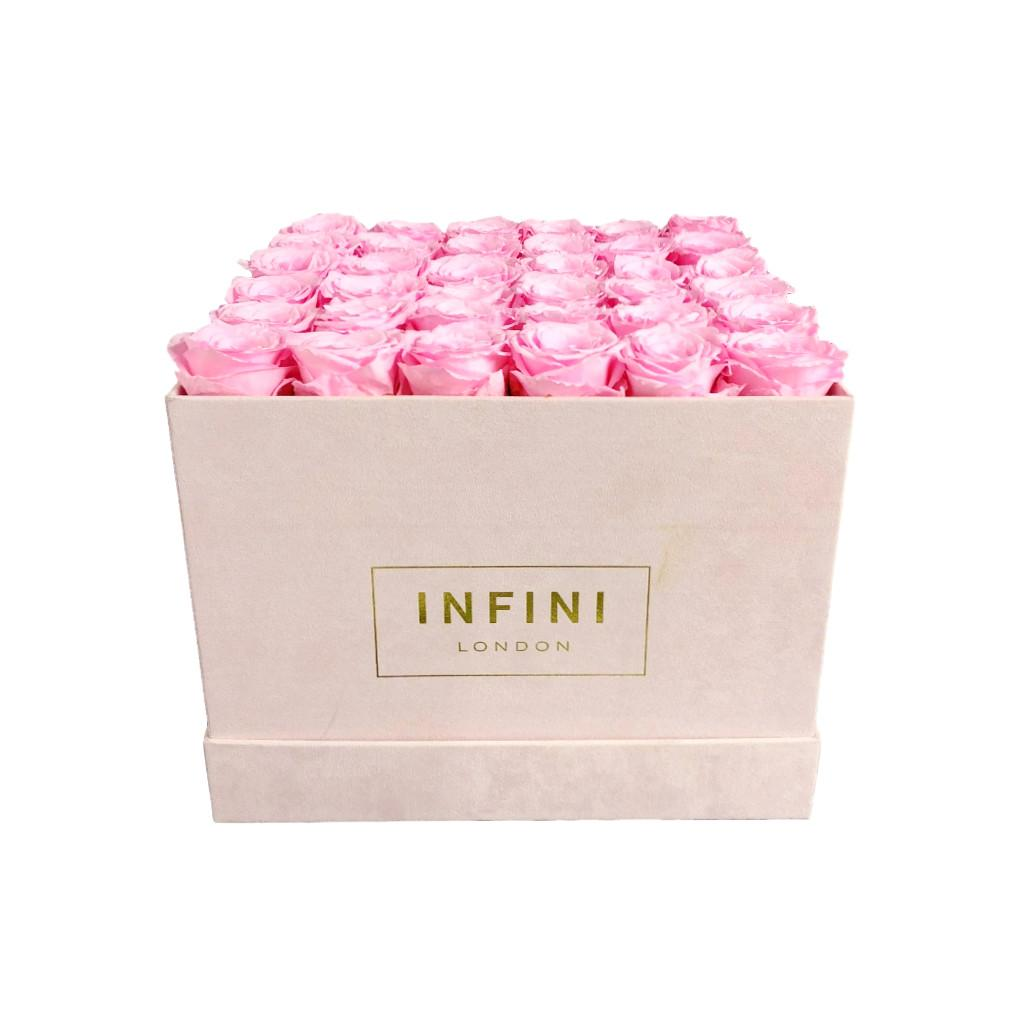 Large Square Box - Blush Pink Suede - INFINI roses that last a year