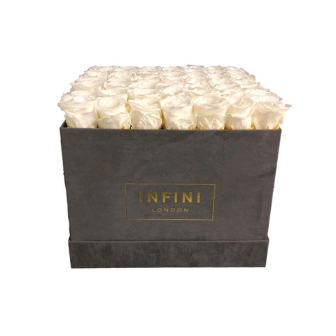 Large Square Box - Dark Grey Suede - INFINI roses that last a year