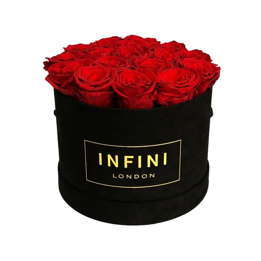 Original Round Box - Black Suede - INFINI roses that last a year