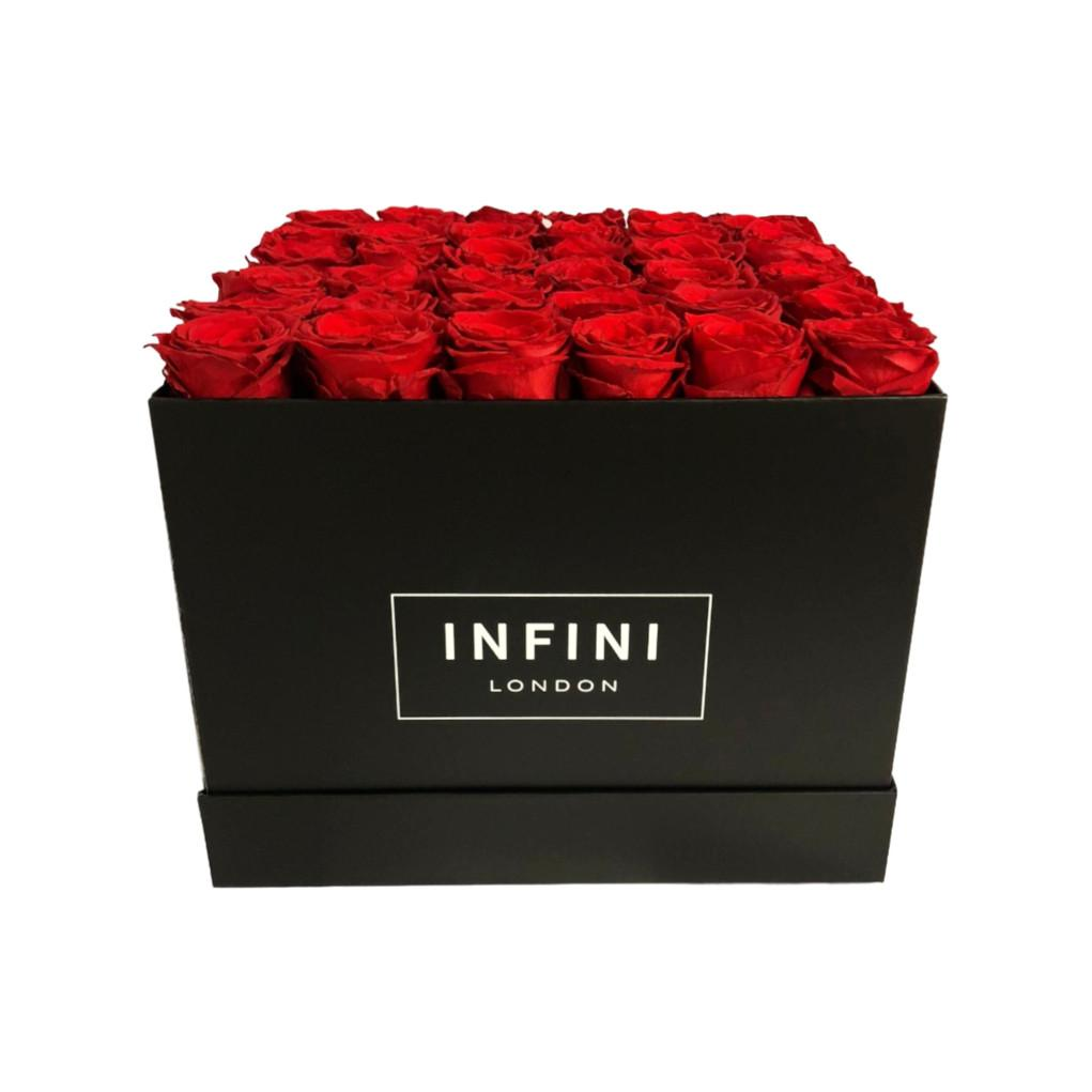 The Large Square Box - Black - INFINI roses that last a year