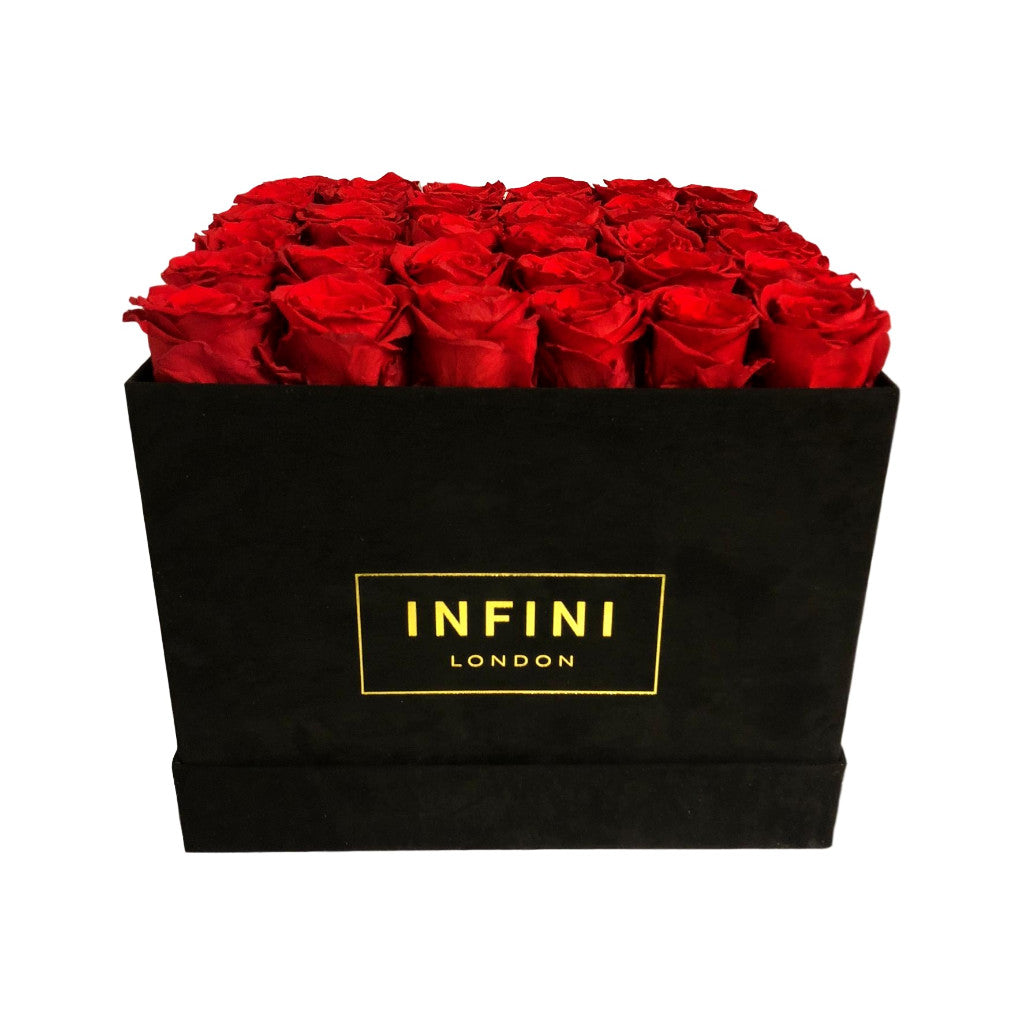 Large Square Box - Black Suede - INFINI roses that last a year