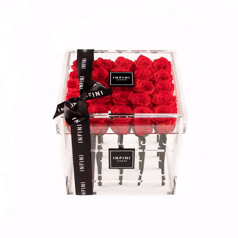 Diamond Cube - Red Roses - INFINI roses that last a year