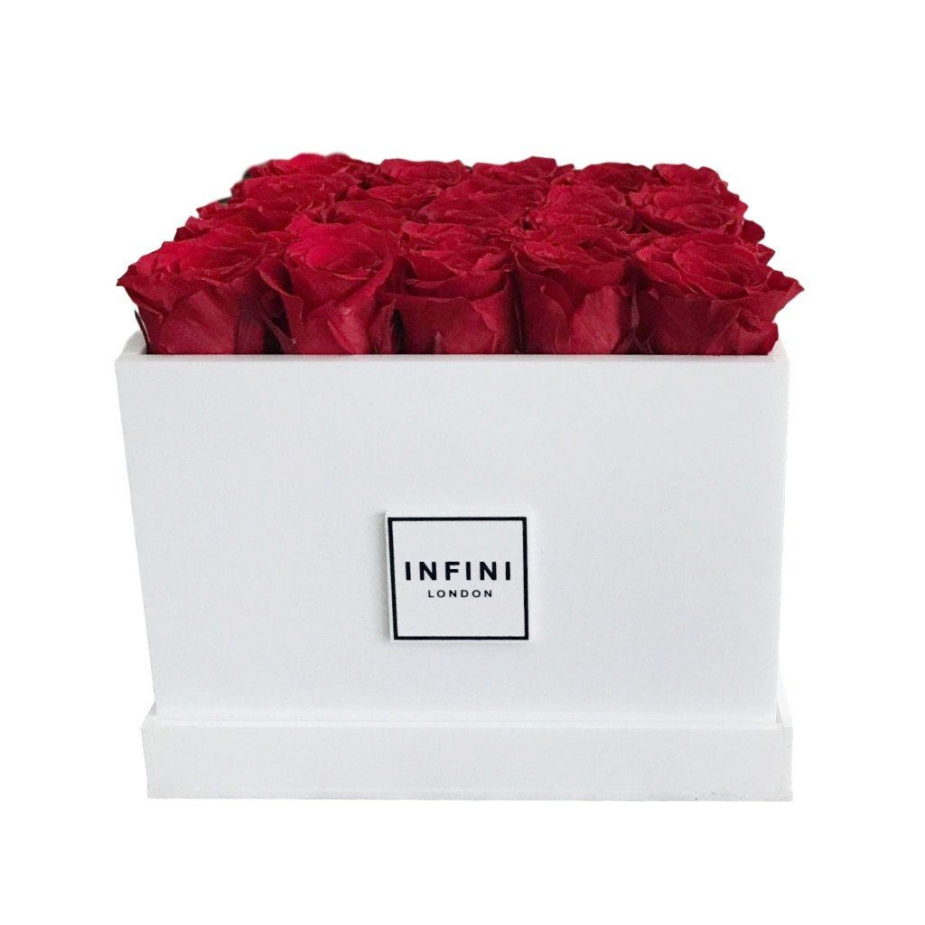 White Diamond - Red Roses - INFINI roses that last a year