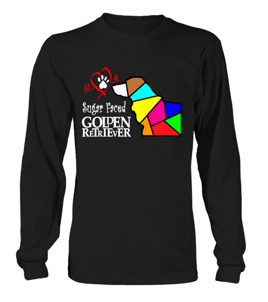 Black Long Sleeved T-Shirt Love is a Sugar Faced Golden Retriever
