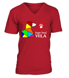 "V-Neck T-Shirt ""Love is a Sugar Faced Vizsla"" Premium"