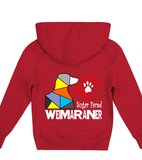Red Children's Hoodie Love is a Sugar Faced Weimaraner