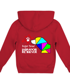 Children's Red Hoodie Love is a Sugar Faced Labrador Retriever