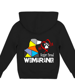 Black Children's Hoodie Love is a Sugar Faced Weimaraner