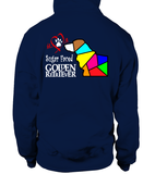 Navy Hoodie Love is a Sugar Faced Golden Retriever