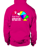 Dark Pink Hoodie Love is a Sugar Faced Labrador Retriever