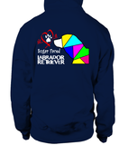 Navy Blue Hoodie Love is a Sugar Faced Labrador Retriever