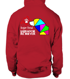 Red Hoodie Love is a Sugar Faced Labrador Retriever
