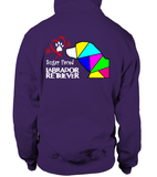 Purple Hoodie Love is a Sugar Faced Labrador Retriever