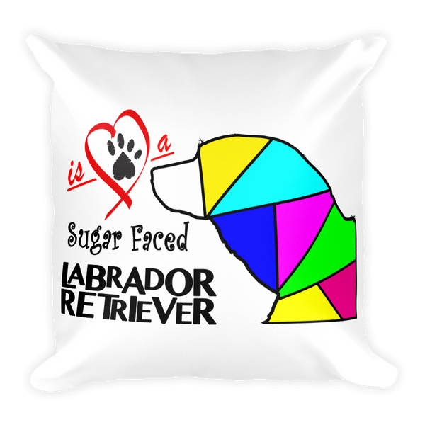 "Square Pillow ""Love is a Sugar Faced Labrador Retriever"" Premium"
