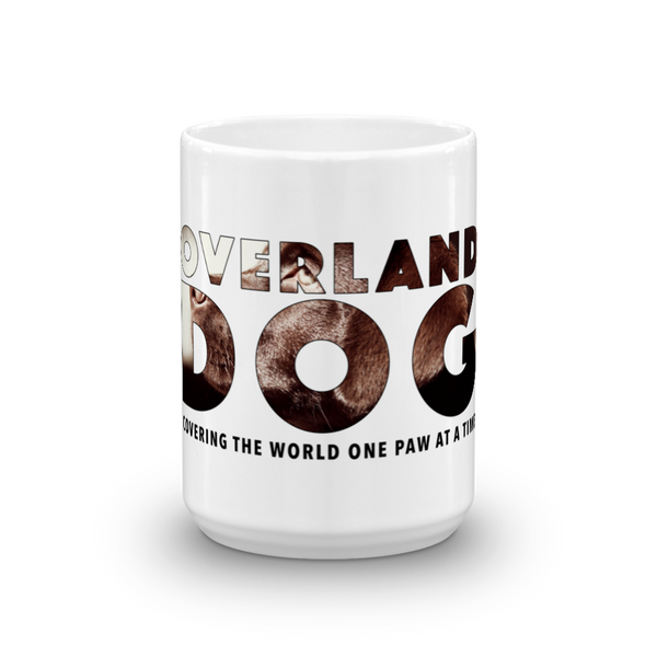 15oz Labrador Retriever Mug - Covering the World One Paw at a Time - Front View