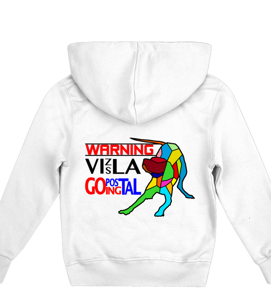 Children's White Hoodie Warning - Vizsla Going Postal
