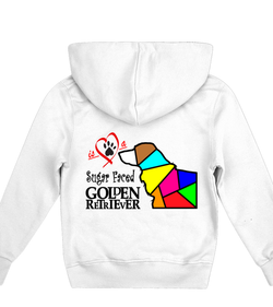 Children's White Hoodie Love is a Sugar Faced Golden Retriever