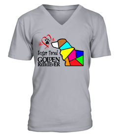 "V-Neck T-Shirt ""Love is a Sugar Faced Golden Retriever"" Premium"