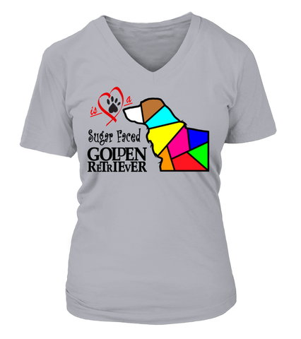 "V-Neck T-Shirt ""Love is a Sugar Faced Golden Retriever"" Woman's Premium"