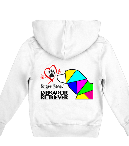 Children's White Hoodie Love is a Sugar Faced Labrador Retriever