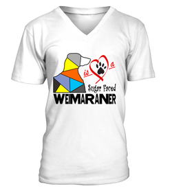 "V-Neck T-Shirt ""Love is a Sugar Faced Weimaraner"" Premium"