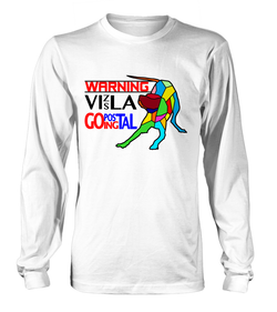 White Long Sleeved T-Shirt Warning - Vizsla Going Postal