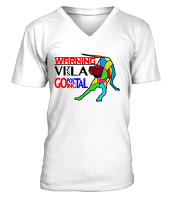 "V-Neck T-Shirt ""Warning - Vizsla Going Postal"" Premium"